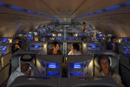 Cabina de clase ejecutiva de Emirates.