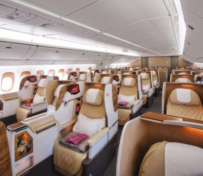 Asientos de clase ejecutiva de los Boeing 777-200LR de Emirates