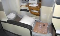 Los asientos cuentan con múltiples ajustes y una pantalla/mando inalámbrico para el control del sistema de entretenimiento a bordo.