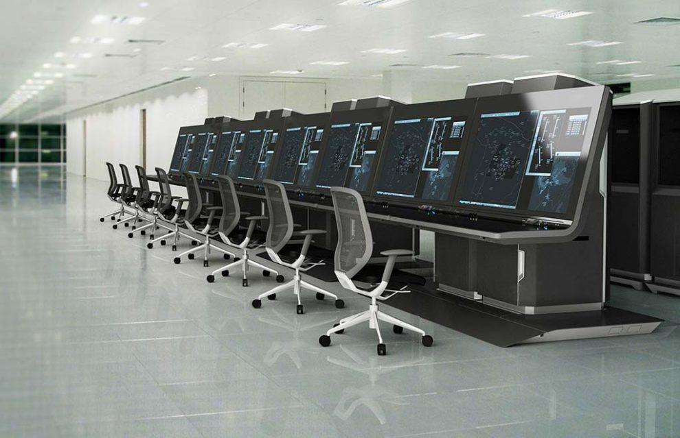 Recreación de como podrían ser las nuevas consolas de control aéreo de Enaire.