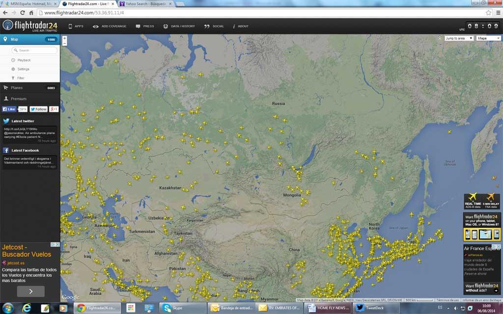 Espacio aéreo Siberia el día 6 de agosto