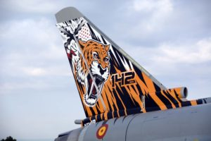 Detalle de la cola del Eurofighter C16-71/10146/14-31 recién pintado para el próximo Tiger Meet en Polonia.