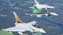 Eurofighter de España, Alemania e Italia, luciendo decoraciones especiales.