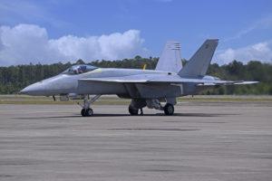 El primer BoeingF/A-18E para los Blue Angels todavía con la pintura estándar de la US Navy.