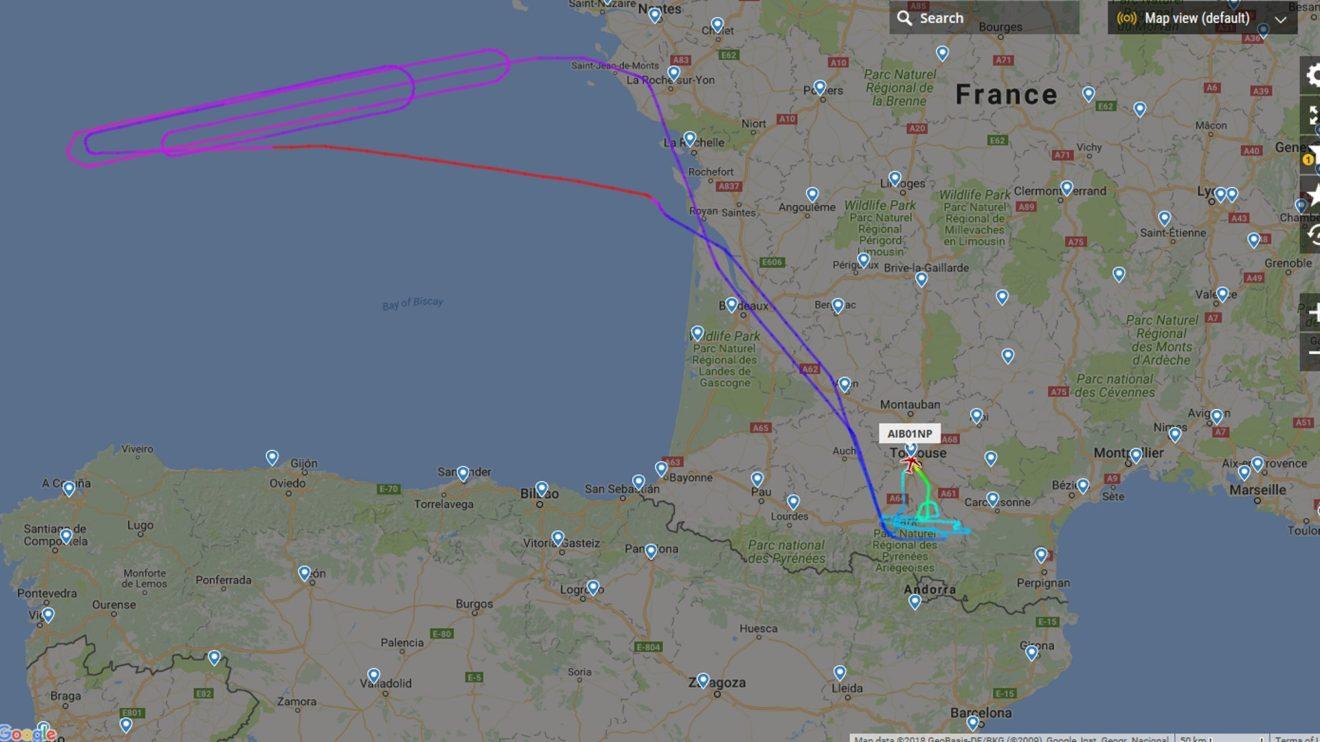 Primer vuelo de prueba del nuevo Airbus A350 de Iberia, el futuro EC-MXV.