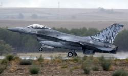 Uno de los dos F-16 de la Fuerza Aérea de Portugal presentes en Torrejón.