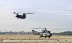 El Chinook y uno de los Super Puma de FAMET llegan a Cuatro Vientos