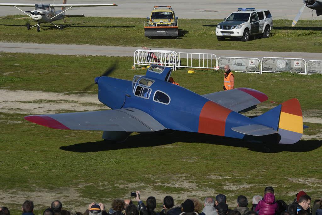 El Miles Falcon Six, pese a poner en marcha finalmente no pudo participar en el vuelo de regreso de la FIO.