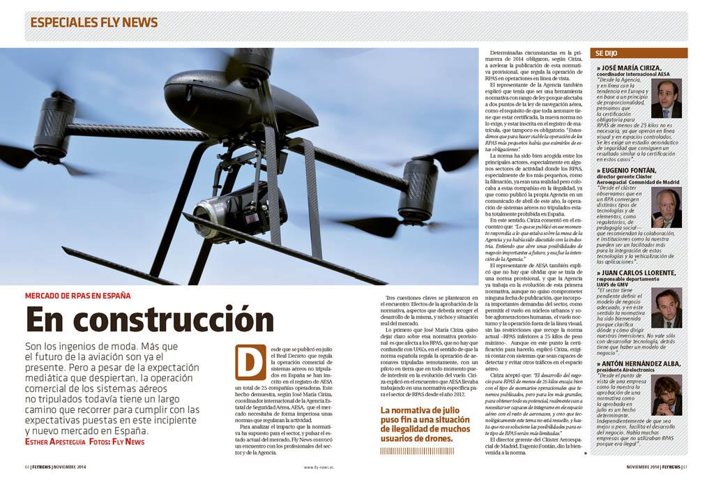 Especiales Fly News. La industria de los RPAS busca su sitio. Fly News 046 Noviembre 2014.