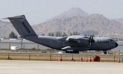El A400M llegó a FIDAE procedente de Cochabamba.
