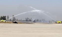 Segundo arco de agua del día en FIDAE. El primerpo había sido para el B-787.