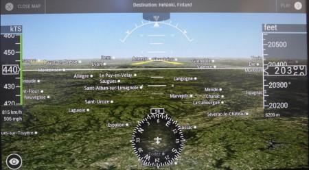 Captura de pantalla de una de las opciones para seguir el desarrollo del vuelo en el Airbus A350 de Finnair.