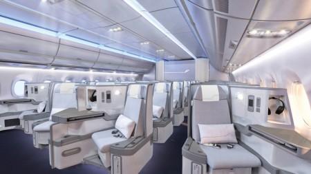Asientos de clase ejecutiva del nuevo Airbus A350 de Finnair.