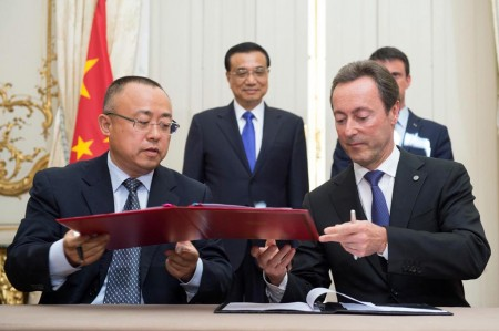 Firma del acuerdo entre China Aviation Supplies Holding Company Airbus en junio de 2015.