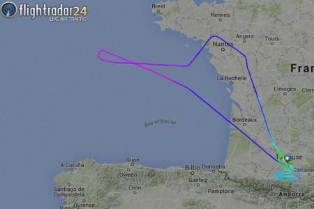 Trayectoria seguida por el primer vuelo del Airbus A330-200 de Iberia en su vuelo inaugural.