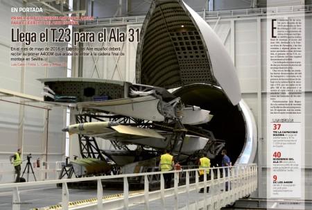 Descarga de las semialas del primer A400M español en la FAL de Sevilla