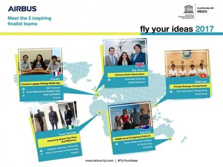 Airbus ha seleccionado a los cinco equipos finalistas del concurso Fly Your Ideas.