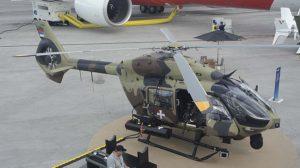 El primer Airbus Helicopters H145M para Serbia expuesto en le Bourget.