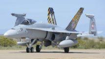 Uno de los F/A-18 de la Fuerza Aérea suiza que serán sustituidos con un nuevo modelo entre 2025 y 2030.