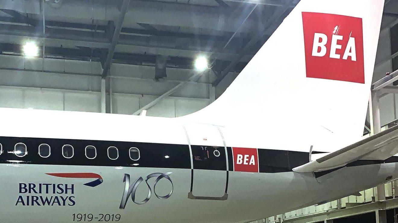 El locogipo actual de British Airways y el del centenario son básicamente las dos únicas libertades a la autenticidad que se han tomado en las decoraciones retro.