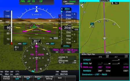 Panel de navegación de la aviónica Garmin 3000 con el sistema Surface Watch activado.