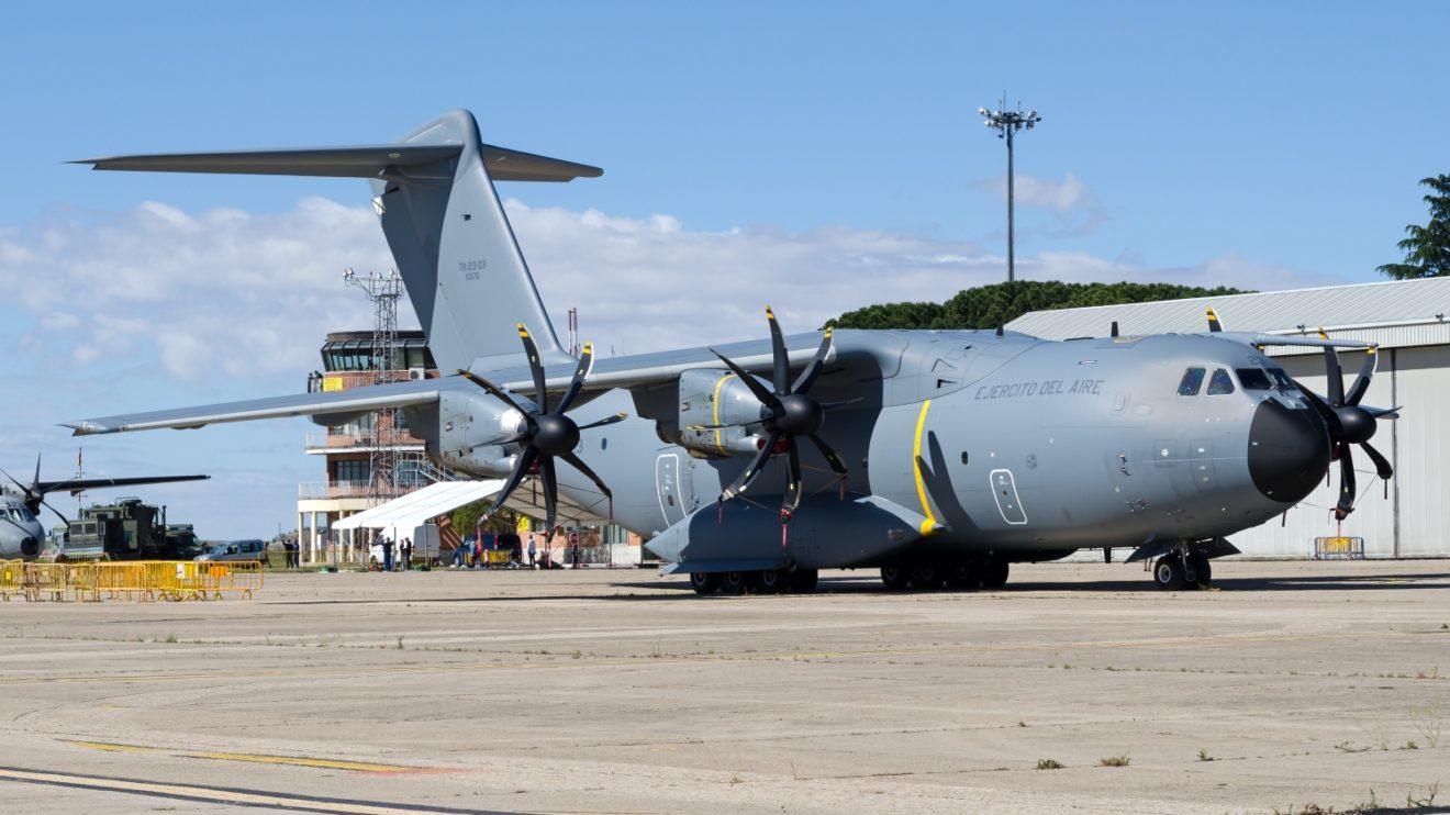 El Ala 31 estuvo presente con el tercero de sus A400M en la exposición estática. (Foto D. Ruiz de Vargas)
