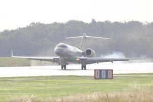 Aterrizaje en Linkoping el 24 de agosto del quinto Bombardier Global 6000 para ser convertido en Globaleye.