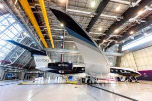 El Gulfstream G700 en el hangar de Qatar Excutive.