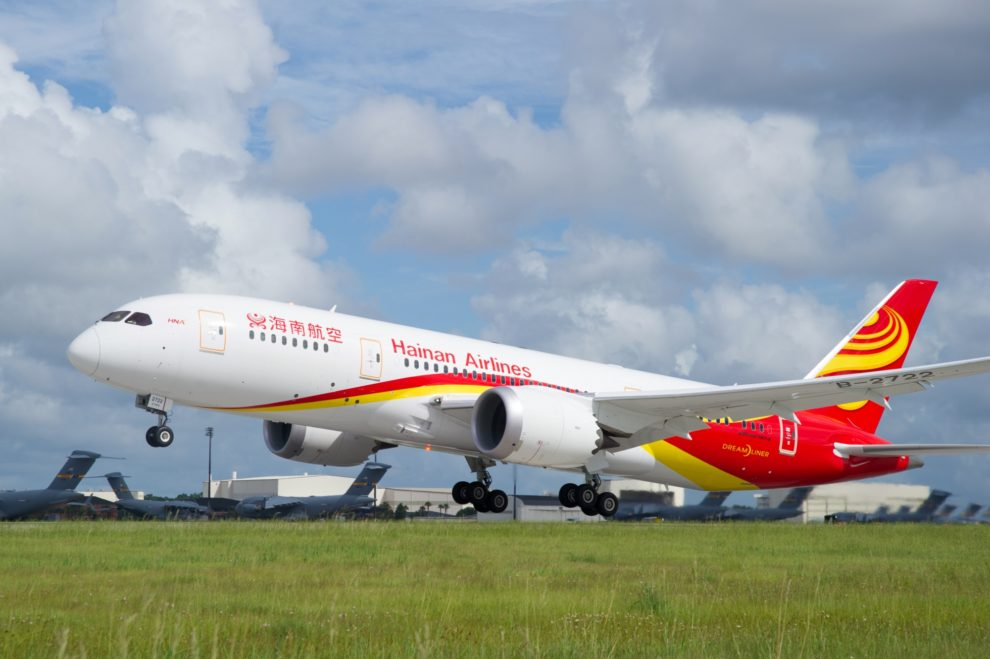 Hainan Airlines cuenta con 9 Boeing 787-8 y 17 B-787-9.