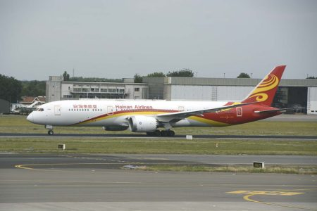 Boeing 787 de Hainan Airlines en Bruselas, uno de los destinos europeos de la aerolínea.en Europa.