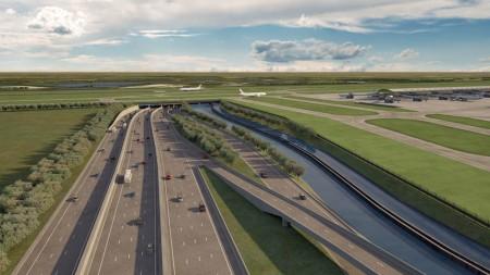 Túnel previsto en la M25 bajo la tercera pista del aeropuerto de Londres Heathrow.