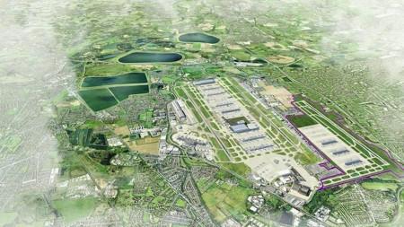 Uno de los muchos diseños de Heathrow con la nueva pista, en esta ocasion situada al este y terminales.