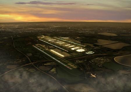 Aspecto que podría tener Heathrow con la nueva pista y terminales.