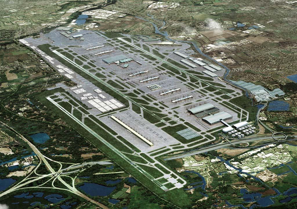 Así podría quedar Heathrow con su tercera pista (en realidad la séptima que tendrá, aunque cuatro de ellas ya no existen como tales) y nuevas plataformas en lo que hoy es Bath Road, donde se ubican muchos de los hoteles del aeropuerto.
