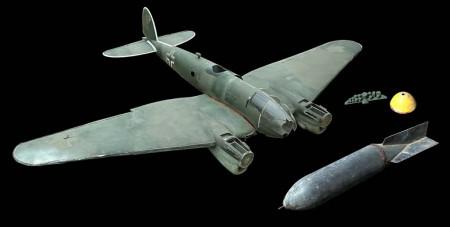 Maquetas de un Heinkel He-111 y de una bomba usadas en la película La batalla de Inglaterra.