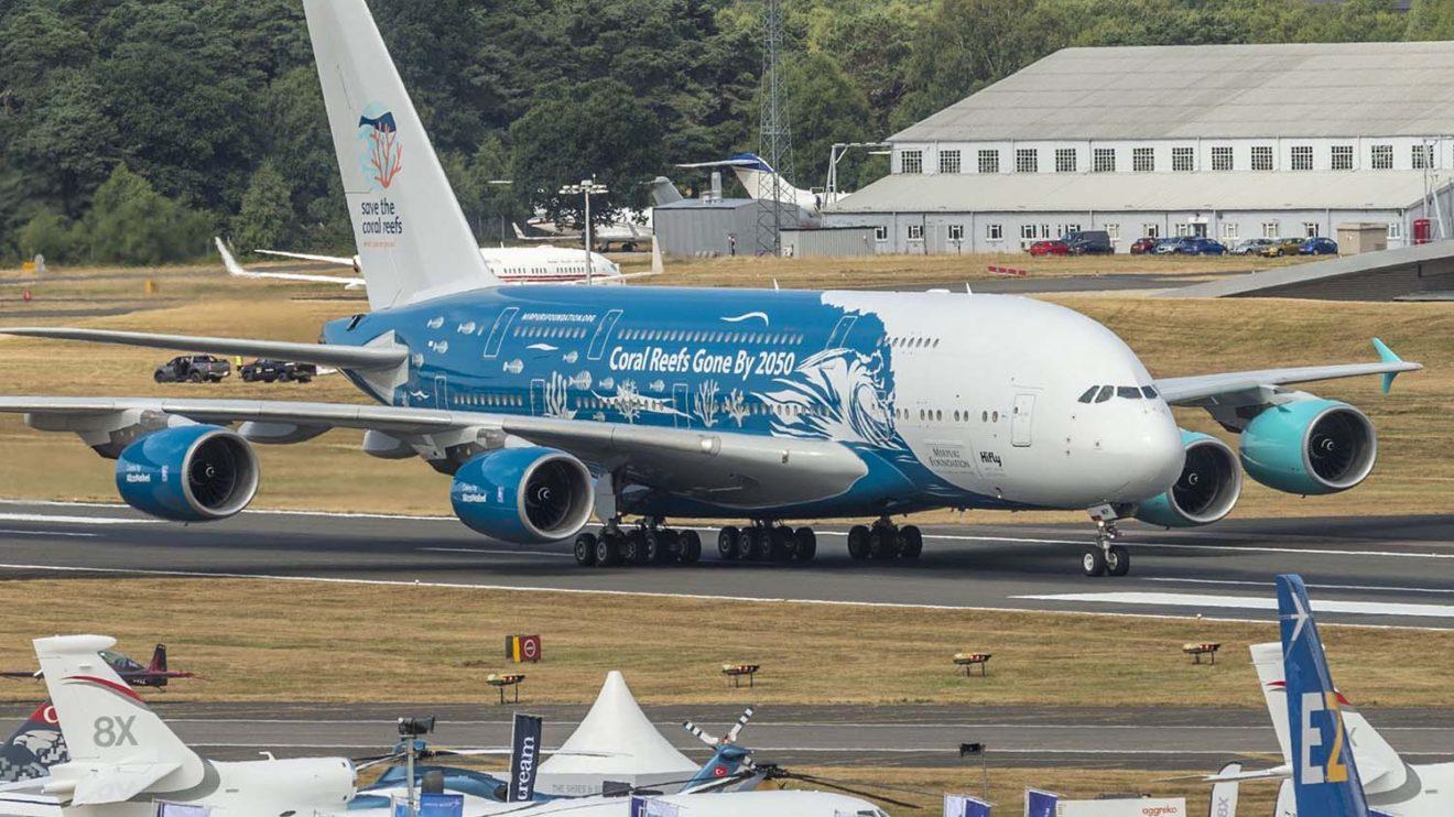 Cada lado del avión ha sido decorado de forma diferente para señalar los dos posibles futuros de los arrecifes de coral.