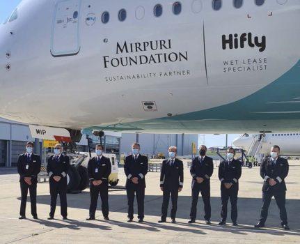 Tripulación de Hi Fly Malta que realizó el vuelo alrededor del mundo.