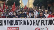 Manifestación en Cádiz en apoyo de la continuidad de la factoría de Airbus en Puerto Real.