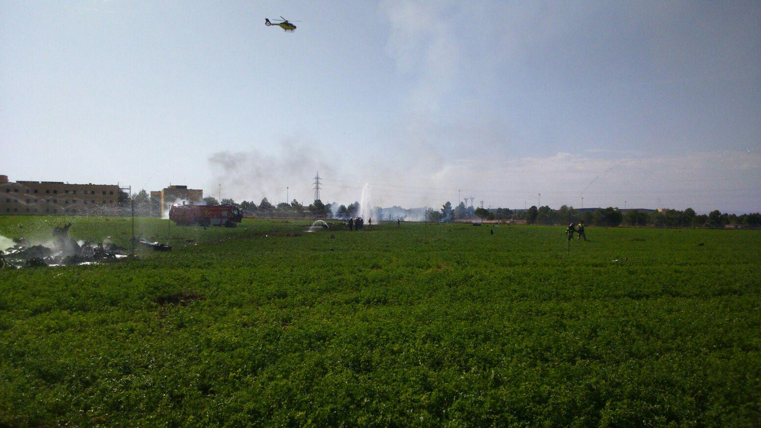 Foto de la Policía Local de Albacete del lugar del accidente del Eurofighter.