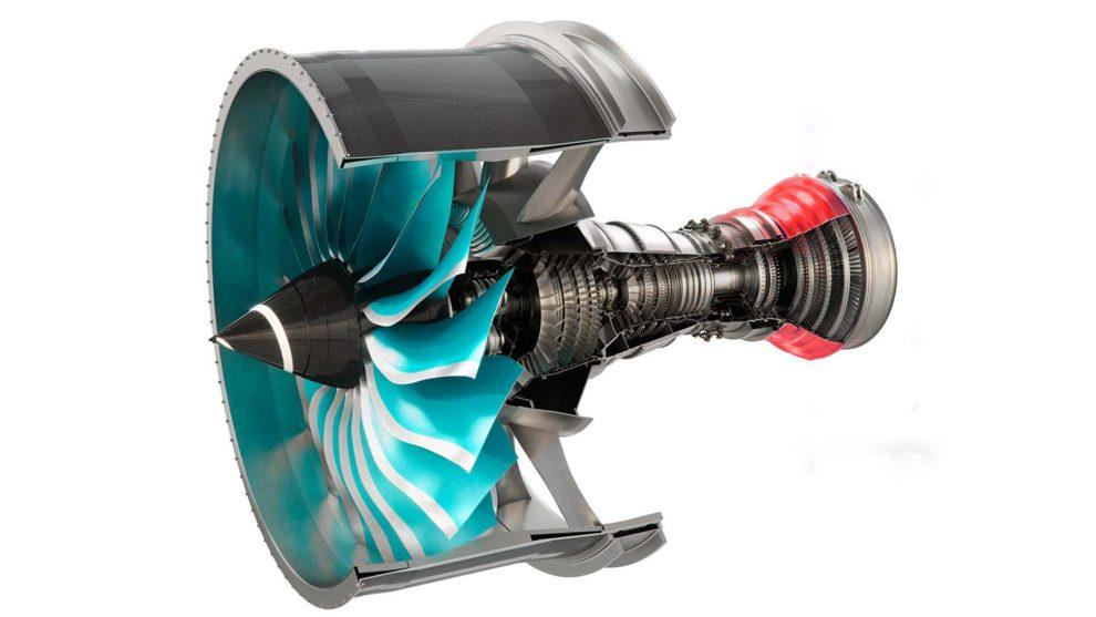 En rojo, a la derecha, la carcasa de la turbina de presión intermedia del Rolls-Royce Ultrafan diseñada y construida por ITP Aero