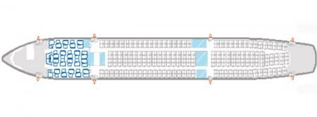Configración interior del A330-200 de Iberia con 19 asientos de business y 269 en turista.