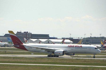 A350 de Iberia en uno de sus vuelos de prueba previos a su entrega en 2019.