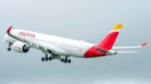 El primero de los Airbus A350 de Iberia en su vuelo inaugural en Toulouse el 29 de mayo de 2018.