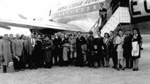 Pasajeros del primer vuelo de Iberia entre Madrid y Buenos Aires entre el 23 y el 25 de septiembre de 1946.