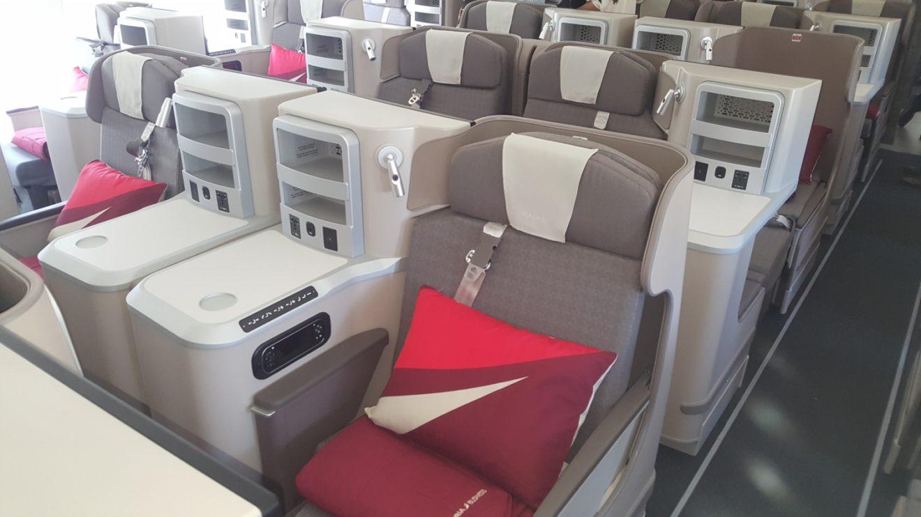 Asientos de clase business del Airbus A350 Juan Sebastián Elcano.