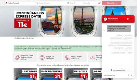 El nuevo asistente virtual de Iberia Express ofrece ayuda sobre diferentes necesidades.