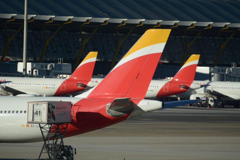 Aviones de Iberia en la T4 del aeropuerto Madrid Barajas.