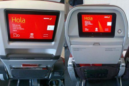 Comparación de los respaldos de los asientos de turista premium (izquierda) y turista (derecha) de Iberia.