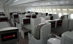 Con esta disposición de asientos todos los pasajeros tienen acceso al pasillo y se puede incrementar el número de asientos sin perder comodidad.