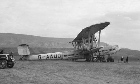 Handley Page HP.42W G-AAUD Hanno de Imperial Airways. Fue destruido en el aeropuerto de Bristol-Whitchurch el 19 de marzo de 1940 durante una tormenta.